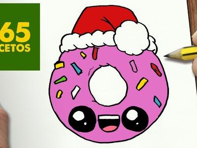 COMO DIBUJAR UN DONUT PARA NAVIDAD PASO A PASO: Dibujos kawaii navideños - How to draw a Donut