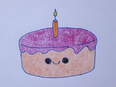 Cómo dibujar un pastel de cumpleaños kawaii