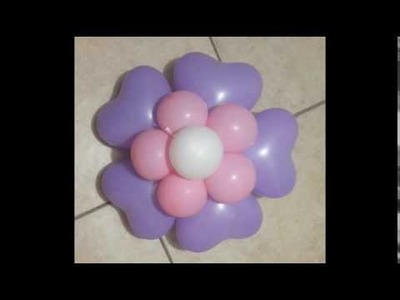 Como hacer una  flor con globos en forma de corazó
