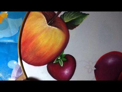 Pintura en tela fresas mantel # 7  con cony