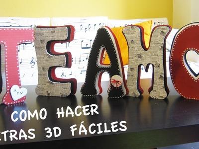 Como Hacer LETRAS 3D Fáciles -TE AMO- Para San Valentín