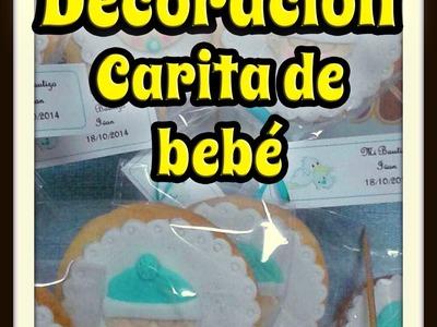 Decoración de galletas con fondant. Carita de bebé