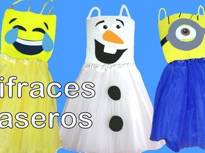 Disfraces caseros de última hora, para carnaval, con tutu y sin coser, de Olaf, Minion y emoticono