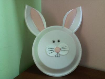 Manualidades con platos desechables - bolso conejo