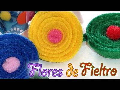 SUPER FACIL!! 2 MODELOS DE FLORES DE FIELTRO Y DE PAPEL
