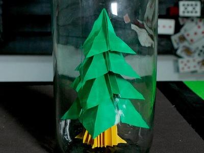 Árbol de navidad en una botella │ Parte 1 │ Origami