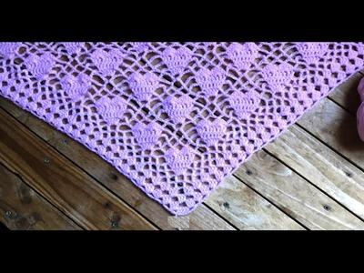 Chal corazones tejido a crochet paso a paso