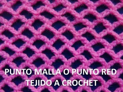 Punto malla o punto red tejido a crochet # 6