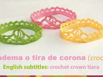 Diadema o tiara de corona tejida a crochet para bebés. English subtitles: crochet baby crown tiara