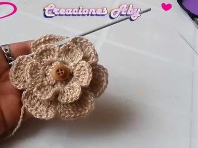 Flor de 6 Petalos  a Crochet  para la Vincha