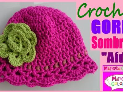 """Gorro Sombrero """"Aída"""" Niños (Parte 1) Crochet todas TALLAS EspañoI y English por Maricita Colours"""