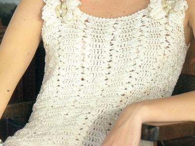 Patrón Para tejer Blusa Con Entredós a Crochet