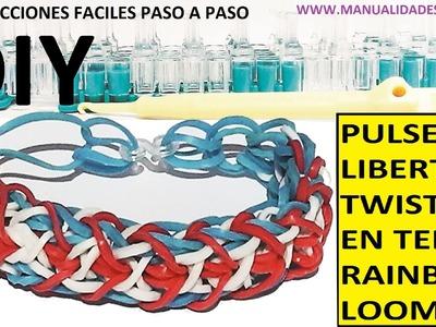 COMO HACER PULSERA DE GOMITAS MODELO LIBERTY TWIST EN TELAR RAINBOW LOOM TUTORIAL ESPAÑOL DIY