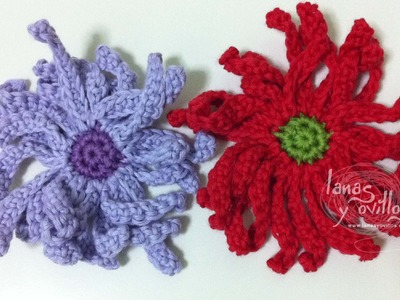 Tutorial Flor Margarita Crochet o Ganchillo Daisy (English subtitles)