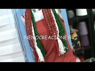 2 DE 2 COMO TEJER BUFANDAS DECORATIVAS GANCHILLO CROCHET, FIESTA MEXICANA