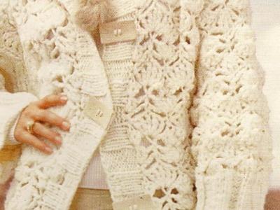 Abrigo largo  a crochet en color crudo
