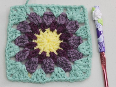 Como se tejer un Granny square con centro redondo en crochet