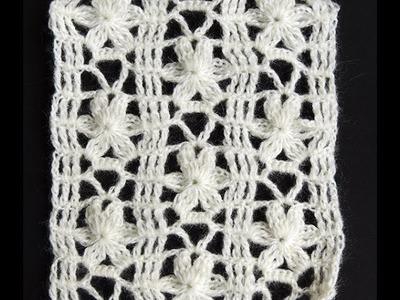 Crochet : Punto Calado Flor de 6 Petalos.  Parte 1 de 2