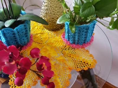 Decoración para plantas en crochet