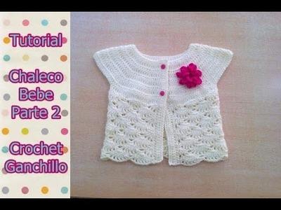 DIY Como tejer chaleco bolero para bebe niña con flor a crochet, ganchillo (2.2)