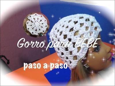 GORRO BEBE 0 A 3 MESES, PUNTADA ABANICOS CROCHET