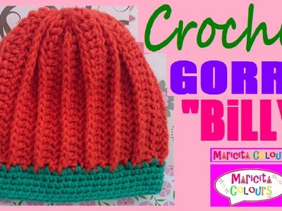 """Gorro Bebé Niños """"Billy"""" (Parte 1) todas las TALLAS  CROCHET por Maricita Colours"""