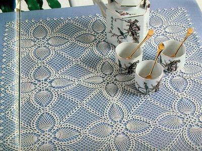 Gráficos para tejer mantel con motivos piñas a crochet