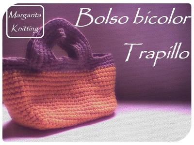 Bolso bicolor a trapillo crochet (zurdo)