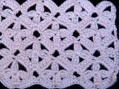 Crochet : Punto 4 petalos Combinado.  Parte 1 de 3