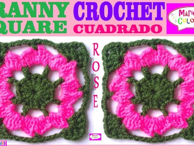 "Granny Square Cuadrado Tutorial Crochet ""Rose"" (Parte 1) por Maricita Colours"