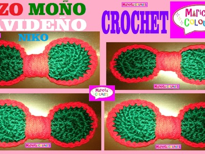 "Lazo Moño Corbatita Navideña Crochet Tutorial ""Niko""  (Parte 2) por Maricita Colours"