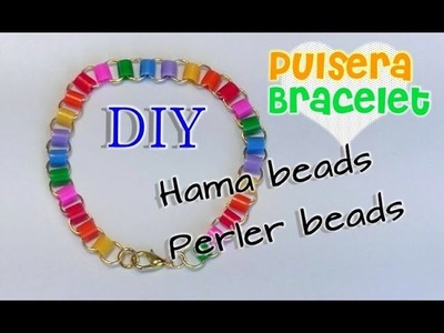 Pulsera con hama beads, perler beads o pyssla. Hama beads bracelet, perler beads or pyssla.