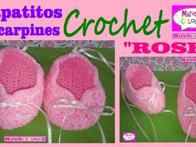 "Zapatitos Bebé Escarpines ""ROSE"" a CROCHET (Parte 2) Merceditas por Maricita Colours"