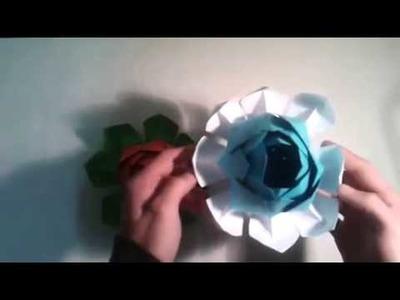Flor de loto de origami    [Origami - Papiroflexia]