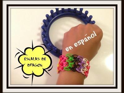 Rainbow Loom en ESPAñOL Dragon Scales Bracelet. Pulsera de Gomita en Telar