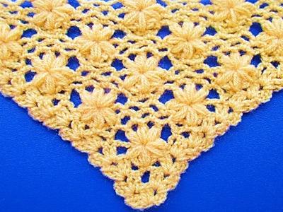 Chal triangular tejido a crochet paso a paso : punto jazmin