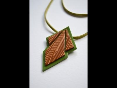 Colgante geométrico imitación madera - Polymer clay faux wood geometric pendant