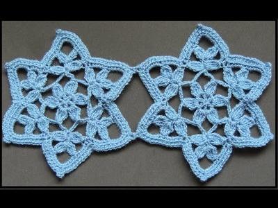 Crochet : Motivo Estrella con Flor. Parte 1 de 2