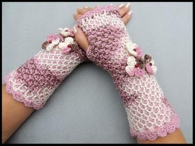 Crochet Tunecino : Guante sin dedos o mitones en redondo.  Parte 2 de 2