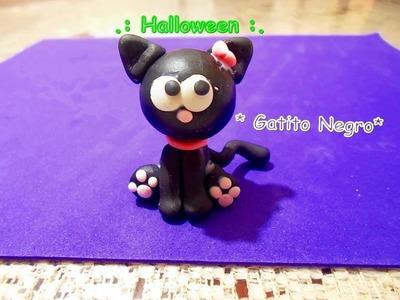 Gatito Halloween Manualidades. Porcelana fria - polymer clay - fimo