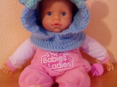 Gorro con capucha de animalitos para bebe a crochet