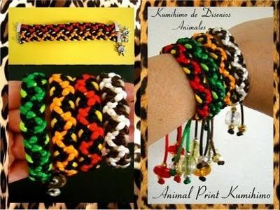 Kumimari 5: Animal Prints and Slipnots.Pulsera de kumihimo Con Disenios Animales y Nudo Corredizo