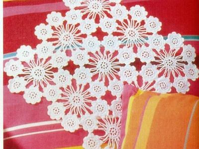 Patrón Para tejer Carpeta.tapete con flores a crochet