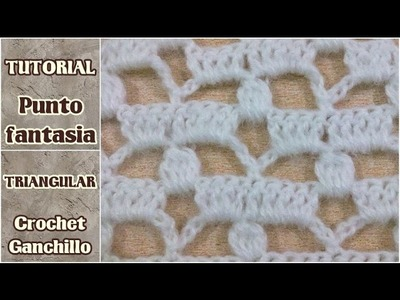 Punto fantasia triangular, especial para chal, manta, poncho, capa, shawl a crochet