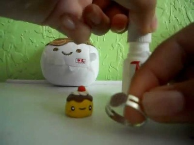 Tutorial:Anillo de pudding.flan, Kawaii polymer clay pudding ring