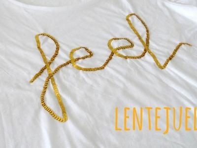 Tutorial DIY para decorar camisetas con lentejuelas,sin maquina de coser. Mes de la camiseta.