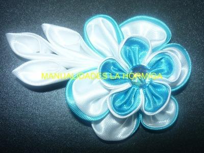 Tutorial  flores kanzashi doble pétalo , flores en cinta vídeo 1 30