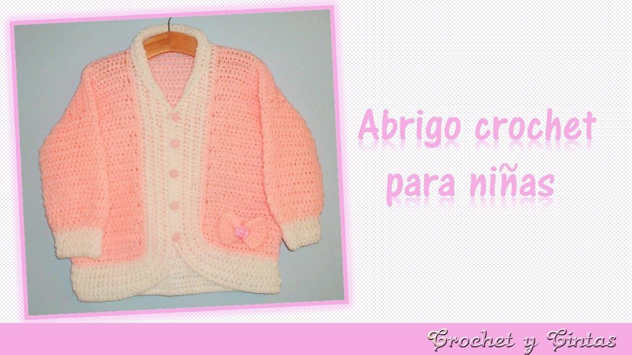 Abrigo - chaqueta con lazo tejido a crochet (ganchillo) para niñas  – Parte 2
