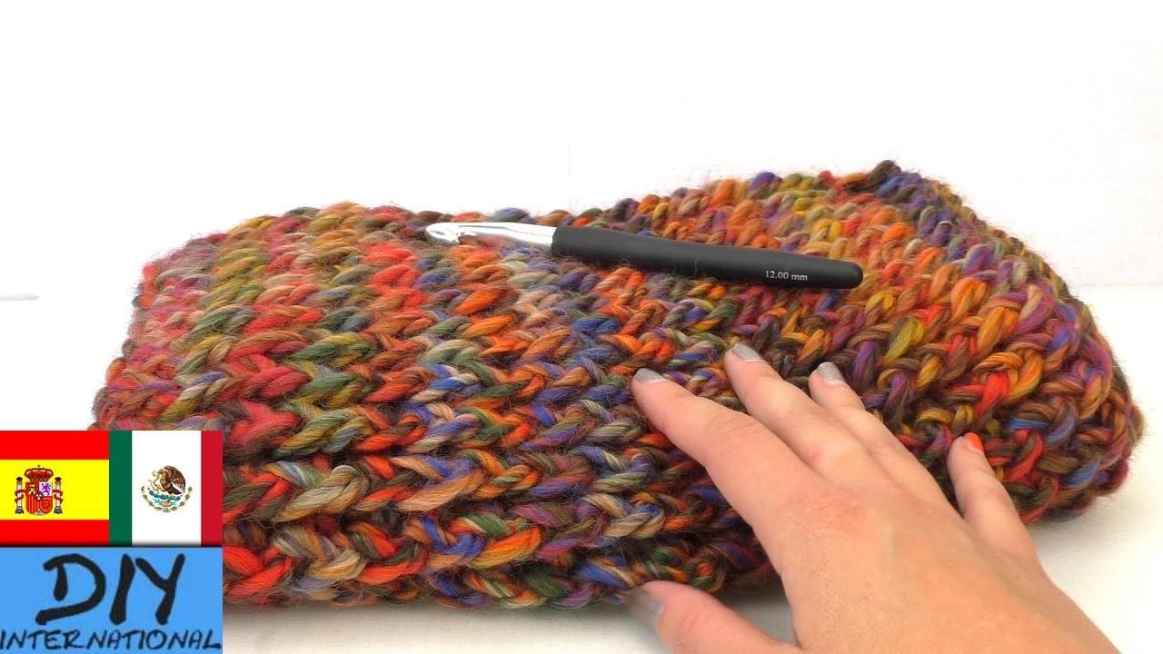 Bufanda colorida corrida, con ganchillo - Cómo hacer una bufanda ( español)