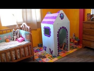 Cómo hacer una Casa de Cartón para Niños | Tutorial | DIY Playhouse | Casita de Cartón